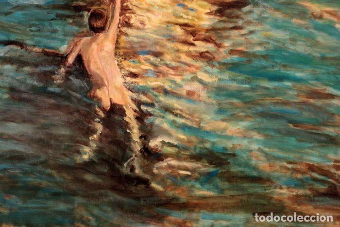 Arte: Joaquin Sorolla (1863-1923) después de - El bote blanco. Firmado. Enmarcado 84×71cm - Foto 7 - 219065043