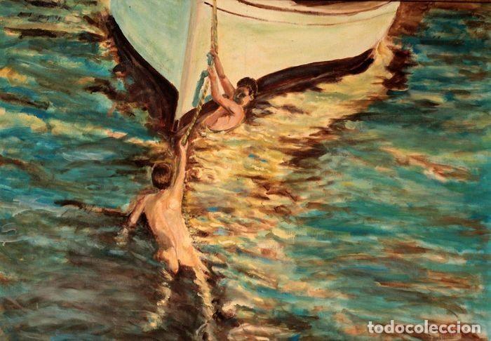 Arte: Joaquin Sorolla (1863-1923) después de - El bote blanco. Firmado. Enmarcado 84×71cm - Foto 8 - 219065043