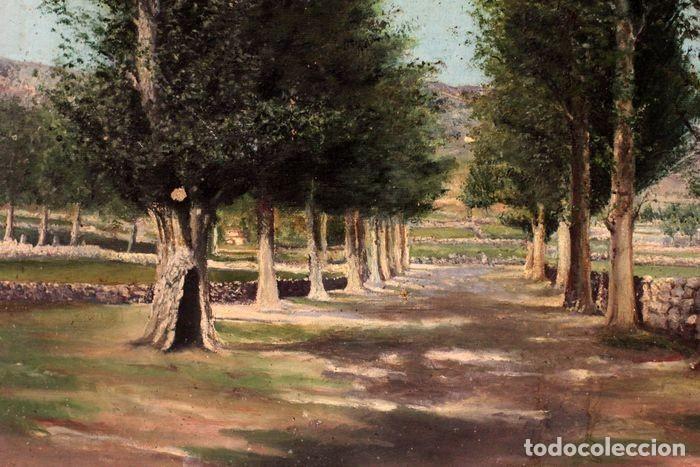 Arte: Autoría desconocida, escuela española finales s.XIX-XX - Camino con arboles. 44×34 - Foto 2 - 219068321