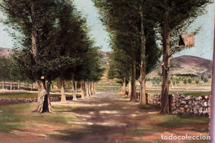 Arte: Autoría desconocida, escuela española finales s.XIX-XX - Camino con arboles. 44×34 - Foto 3 - 219068321