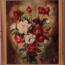 Arte: FIRMADO MB - FLORERO DE FLORES ROJAS Y BLANCAS ÓLEO SOBRE LIENZO - FIRMADO A MANO - 83X70 ENMARCADO. Lote 219068705