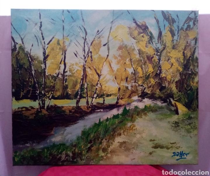 Arte: Hermosa pintura frente a un paisaje de otoño. Óleo sobre lienzo. 65cm x 54cm - Foto 2 - 219118767