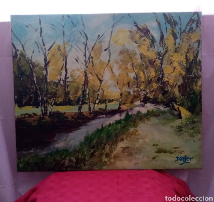 Arte: Hermosa pintura frente a un paisaje de otoño. Óleo sobre lienzo. 65cm x 54cm - Foto 3 - 219118767