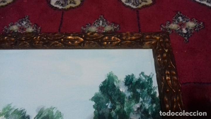 Arte: CASTELLAR DE LA FRONTERA. ACRILICO SOBRE LIENZO 63x20. MARCO DE ÉPOCA SIGLO XIX INCLUIDO. - Foto 5 - 219136335