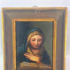 Arte: ÓLEO SOBRE COBRE DE LA VIRGEN MARÍA SIGLO XVIII CON MARCO DE LA ÉPOCA. Lote 219144855