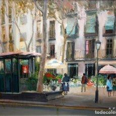 Arte: AGUSTIN RIO NAVARRO (BARCELONA, 1923-1997) OLEO SOBRE TELA. RAMBLA DE LES FLORS (BARCELONA). Lote 219181850