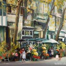 Arte: AGUSTIN RIO NAVARRO (BARCELONA, 1923-1997) OLEO SOBRE TELA. RAMBLA DE LES FLORS (BARCELONA). Lote 219182192