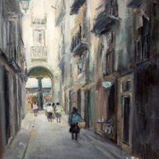 Arte: AGUSTIN RIO NAVARRO (BARCELONA, 1923-1997) OLEO SOBRE TELA. VISTA URBANA (BARCELONA). Lote 219182271
