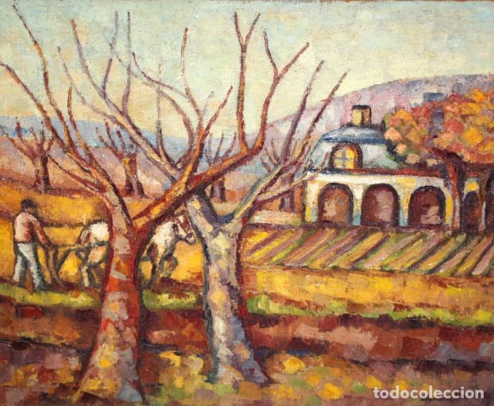 FIRMADO LLORENS. OLEO SOBRE TELA DE APROXIMADAMENTE 1940. ESCENA RURAL (Arte - Pintura - Pintura al Óleo Contemporánea )