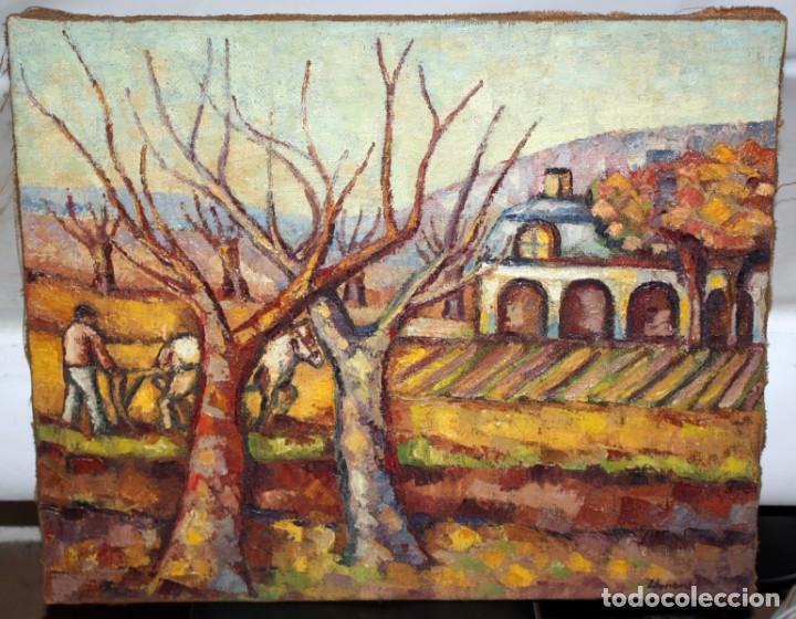 Arte: FIRMADO LLORENS. OLEO SOBRE TELA DE APROXIMADAMENTE 1940. ESCENA RURAL - Foto 2 - 219249773