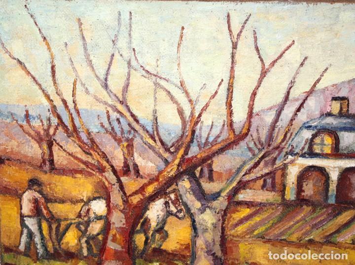 Arte: FIRMADO LLORENS. OLEO SOBRE TELA DE APROXIMADAMENTE 1940. ESCENA RURAL - Foto 4 - 219249773