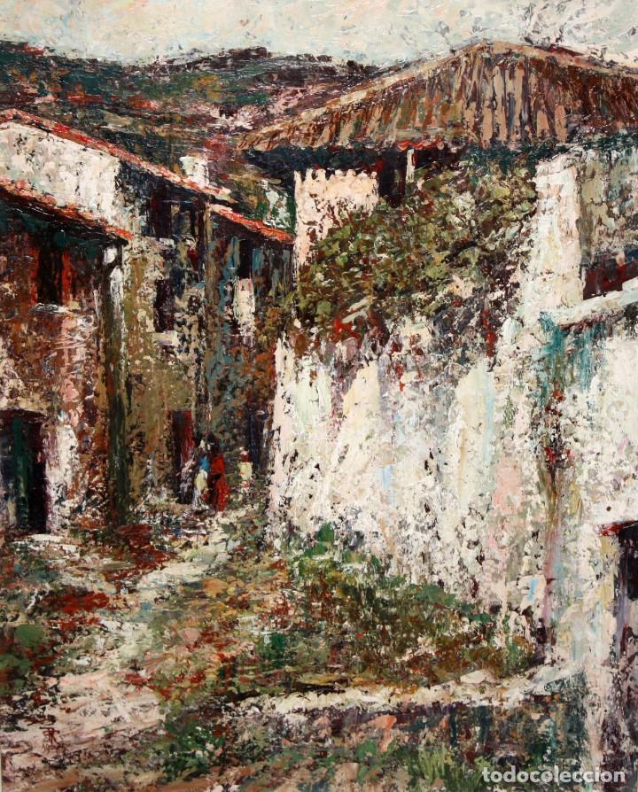 JOSEP TUR ROIG (MATARÓ, BARCELONA, 1931) OLEO SOBRE TABLEX. CALLE DE PUEBLO (Arte - Pintura - Pintura al Óleo Contemporánea )