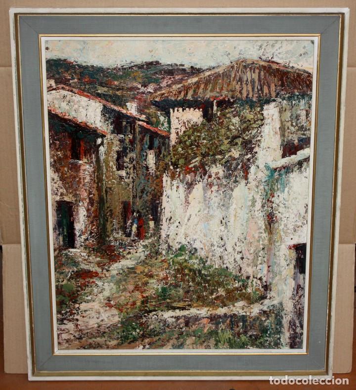 Arte: JOSEP TUR ROIG (MATARÓ, BARCELONA, 1931) OLEO SOBRE TABLEX. CALLE DE PUEBLO - Foto 2 - 219254125