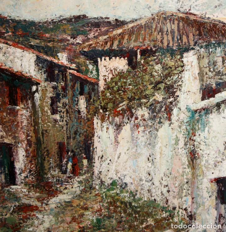 Arte: JOSEP TUR ROIG (MATARÓ, BARCELONA, 1931) OLEO SOBRE TABLEX. CALLE DE PUEBLO - Foto 3 - 219254125