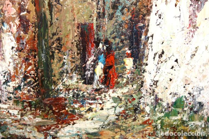 Arte: JOSEP TUR ROIG (MATARÓ, BARCELONA, 1931) OLEO SOBRE TABLEX. CALLE DE PUEBLO - Foto 5 - 219254125
