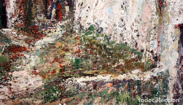 Arte: JOSEP TUR ROIG (MATARÓ, BARCELONA, 1931) OLEO SOBRE TABLEX. CALLE DE PUEBLO - Foto 6 - 219254125