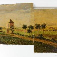 Arte: CUBA - POR IDENTIFICAR, PAISAJE Y POSIBLEMENTE FÁBRICA AZUCARERA, 1880 APROX. ÓLEO SOBRE TALA, VER.. Lote 219294326