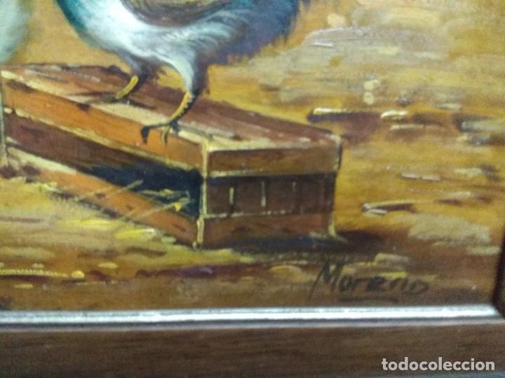 Arte: CUADRO OLEO SOBRE TABLA CORRAL GALLINAS FIRMADO CON IMPORTANTE MARCO - Foto 3 - 219325752
