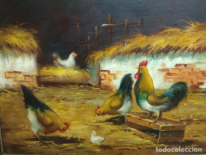 Arte: CUADRO OLEO SOBRE TABLA CORRAL GALLINAS FIRMADO CON IMPORTANTE MARCO - Foto 4 - 219325752