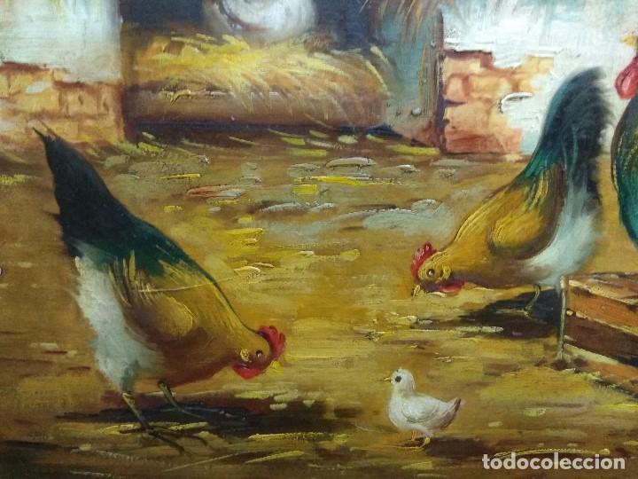 CUADRO OLEO SOBRE TABLA CORRAL GALLINAS FIRMADO CON IMPORTANTE MARCO (Arte - Pintura - Pintura al Óleo Moderna sin fecha definida)