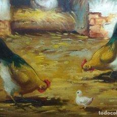 Arte: CUADRO OLEO SOBRE TABLA CORRAL GALLINAS FIRMADO CON IMPORTANTE MARCO. Lote 219325752