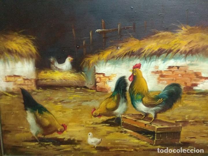 Arte: CUADRO OLEO SOBRE TABLA CORRAL GALLINAS FIRMADO CON IMPORTANTE MARCO - Foto 9 - 219325752