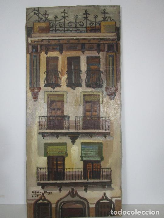 JOAN CLAPERA MAYÀ (OLOT 1929 - 2018) - BALCONS DE CAL FERRER, OLOT 1966 (Arte - Pintura - Pintura al Óleo Moderna sin fecha definida)