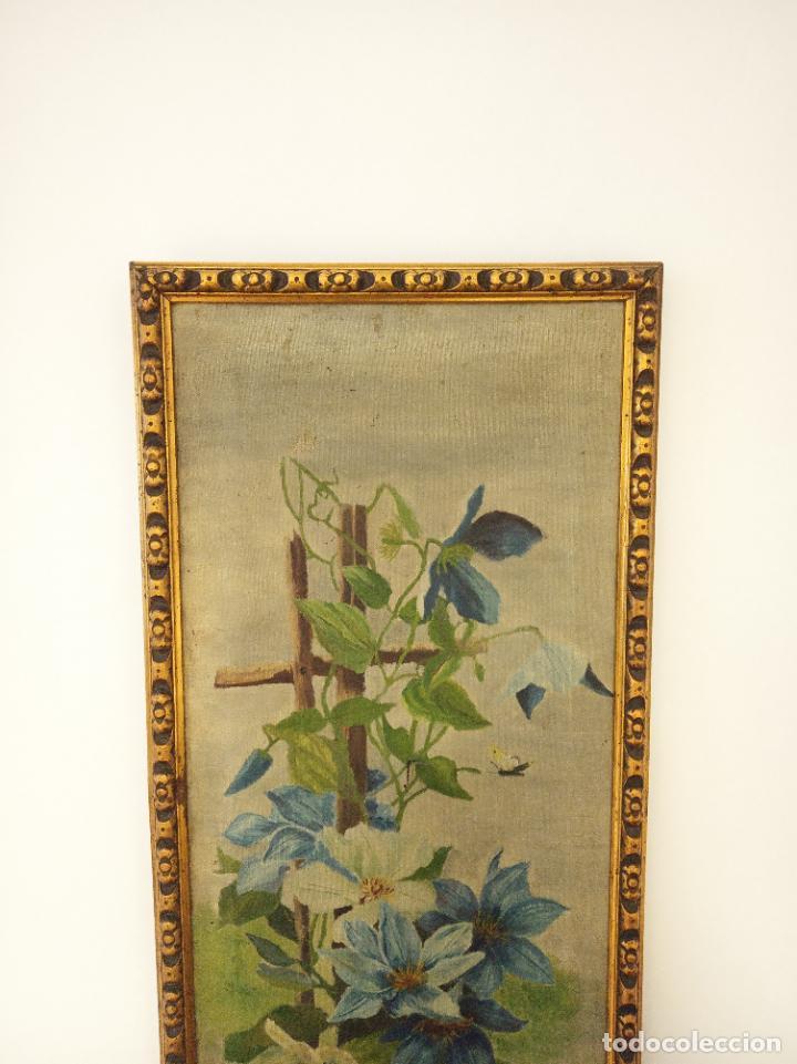 Arte: Antiguo oleo sobre lienzo. Bodegón floral. Enmarcado antiguo. Siglo XVIII. - Foto 2 - 219431107