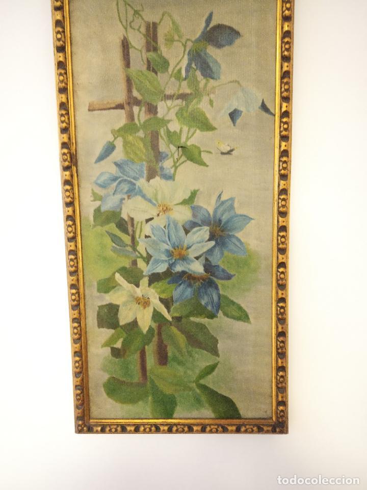 Arte: Antiguo oleo sobre lienzo. Bodegón floral. Enmarcado antiguo. Siglo XVIII. - Foto 3 - 219431107