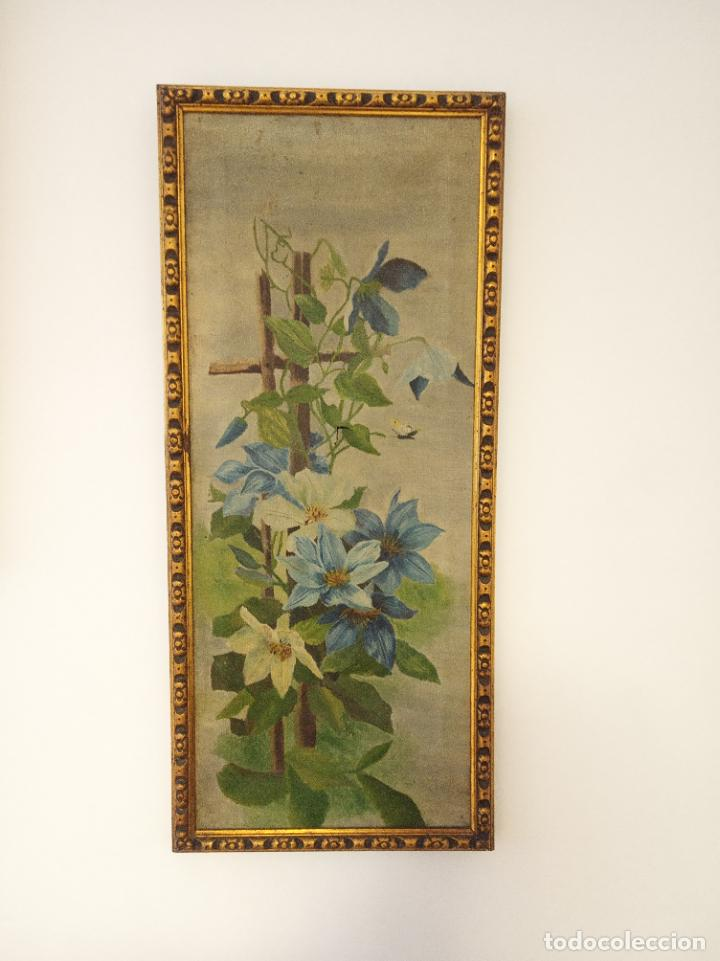ANTIGUO OLEO SOBRE LIENZO. BODEGÓN FLORAL. ENMARCADO ANTIGUO. SIGLO XVIII. (Arte - Pintura - Pintura al Óleo Antigua siglo XVIII)