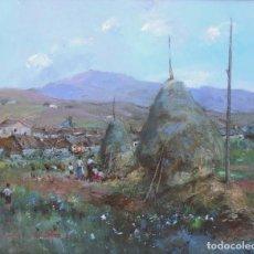 Arte: JOAQUÍN ASENSIO MARINÉ (BARCELONA, 1890-1961) - PAISAJE CON PERSONAJES Y PAJARES - ÓLEO SOBRE LIENZO. Lote 219447190