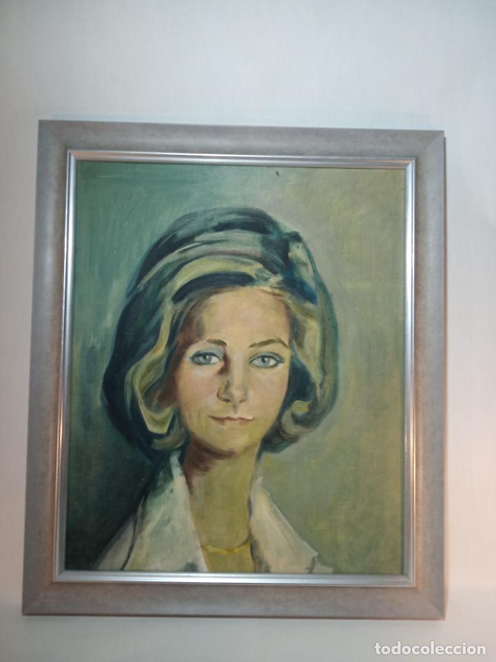 BELLO RETRATO DE UNA JOVENCÍSIMA REINA DOÑA SOFÍA. OLEO SOBRE TABLEX. RECIÉN ENMARCADO. AÑOS 60-70 (Arte - Pintura - Pintura al Óleo Contemporánea )