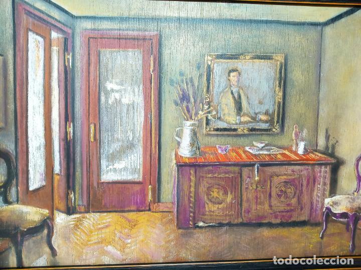 Arte: Oleo sobre tabla. Salón clásico con varios retratos. Recién enmarcado. - Foto 2 - 219539122