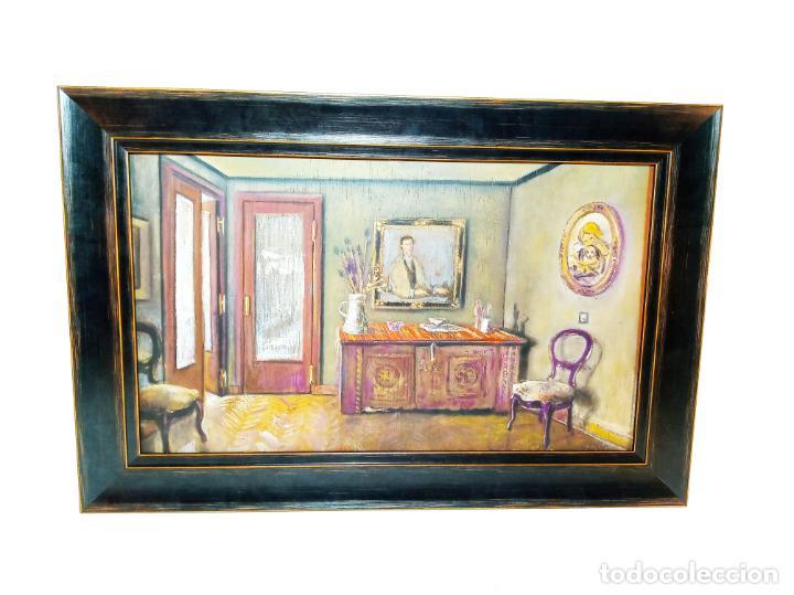 OLEO SOBRE TABLA. SALÓN CLÁSICO CON VARIOS RETRATOS. RECIÉN ENMARCADO. (Arte - Pintura - Pintura al Óleo Contemporánea )