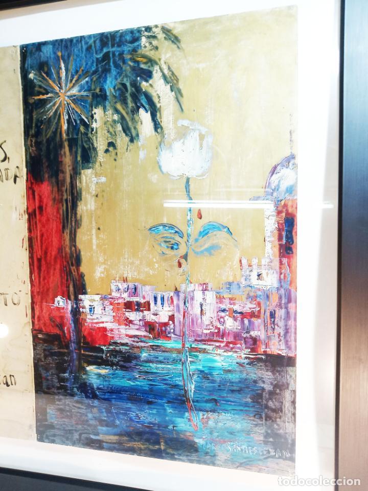 Arte: Interesante obra con poema. Oleo sobre cartulina. Firmado Carlos Santiesteban. Flor blanca. - Foto 2 - 219542081