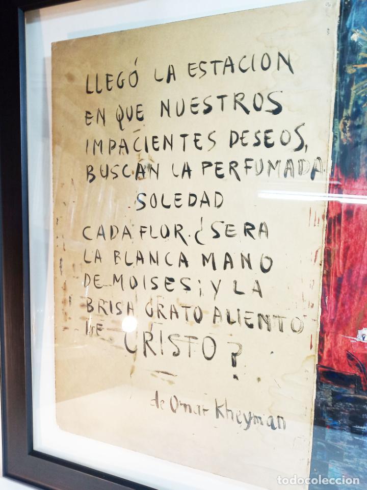 Arte: Interesante obra con poema. Oleo sobre cartulina. Firmado Carlos Santiesteban. Flor blanca. - Foto 3 - 219542081