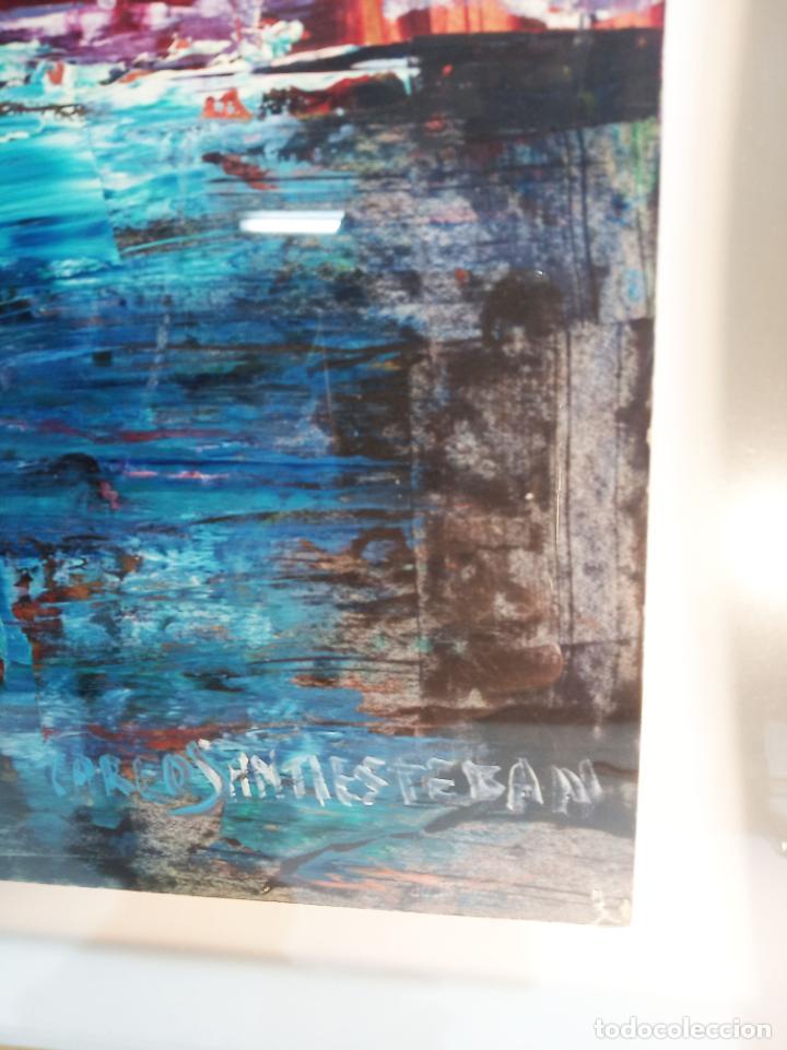 Arte: Interesante obra con poema. Oleo sobre cartulina. Firmado Carlos Santiesteban. Flor blanca. - Foto 4 - 219542081
