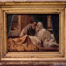 Arte: EDUARDO ROSALES O CIRCULO DE. (1836-1873) ÚLTIMA CONFESIÓN, MARCO EN ORO GRUÑIDO. S.XIX. ENMARCADO. Lote 95277871