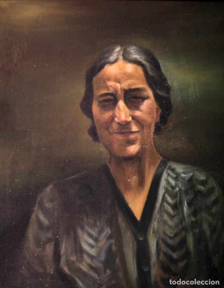 Arte: Óleo sobre lienzo antiguo, retrato señora de gran calidad. Firmado. 66x58cm - Foto 2 - 191910231