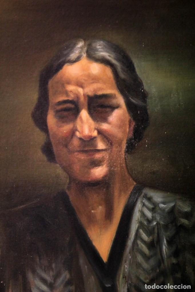 Arte: Óleo sobre lienzo antiguo, retrato señora de gran calidad. Firmado. 66x58cm - Foto 3 - 191910231