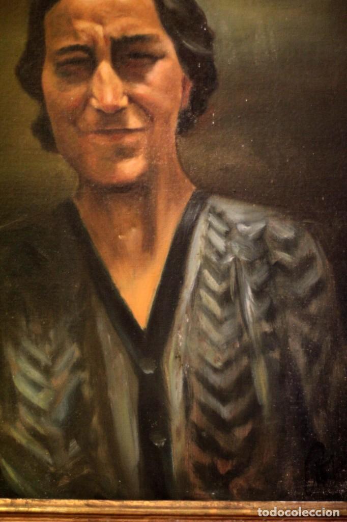 Arte: Óleo sobre lienzo antiguo, retrato señora de gran calidad. Firmado. 66x58cm - Foto 5 - 191910231