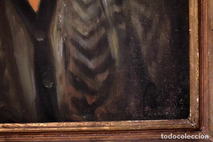 Arte: Óleo sobre lienzo antiguo, retrato señora de gran calidad. Firmado. 66x58cm - Foto 6 - 191910231