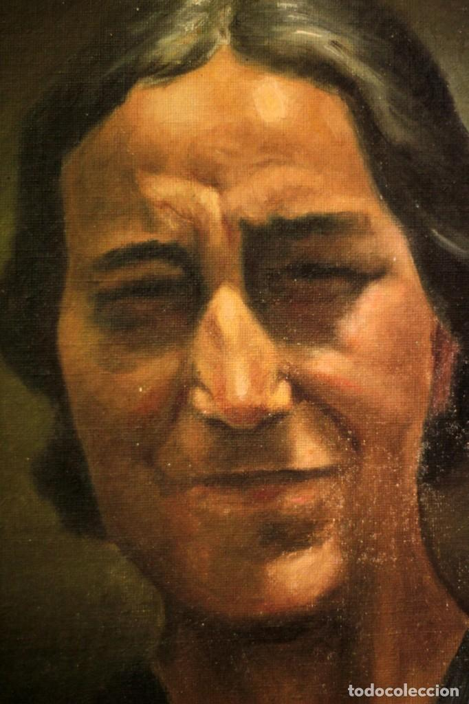 Arte: Óleo sobre lienzo antiguo, retrato señora de gran calidad. Firmado. 66x58cm - Foto 7 - 191910231