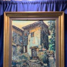 Arte: OLEO LIENZO FIRMA JUAN LUIS HERNANDEZ VISTA PUEBLO CASAS TEJADOS AÑOS 50 60 76X66CMS. Lote 219637158
