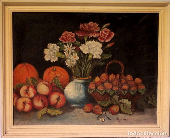 TOMÁS GARCIA SAMPEDRO(1860-1937) ATRIBUIDO A - BODEGÓN DE FRUTAS Y FLORES (Arte - Pintura - Pintura al Óleo Moderna siglo XIX)