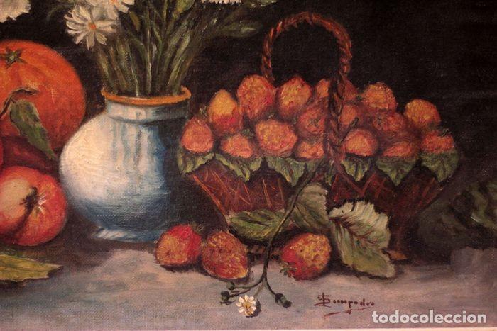 Arte: Tomás Garcia Sampedro(1860-1937) atribuido a - Bodegón de frutas y flores - Foto 2 - 219697541