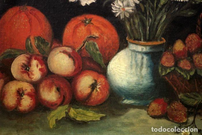 Arte: Tomás Garcia Sampedro(1860-1937) atribuido a - Bodegón de frutas y flores - Foto 3 - 219697541