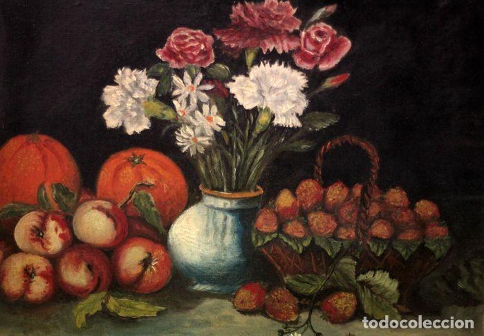 Arte: Tomás Garcia Sampedro(1860-1937) atribuido a - Bodegón de frutas y flores - Foto 4 - 219697541