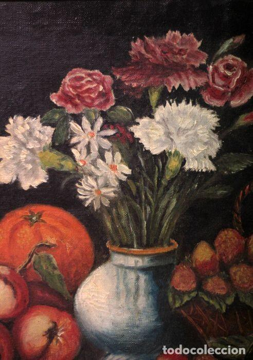 Arte: Tomás Garcia Sampedro(1860-1937) atribuido a - Bodegón de frutas y flores - Foto 6 - 219697541