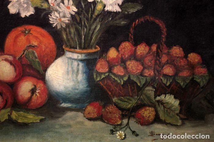 Arte: Tomás Garcia Sampedro(1860-1937) atribuido a - Bodegón de frutas y flores - Foto 9 - 219697541